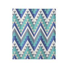 Blue Native Pattern Throw Blanket