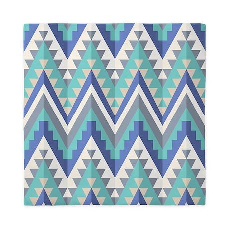 Blue Native Pattern Queen Duvet