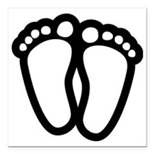"Precious Feet Square Car Magnet 3"" x 3"""