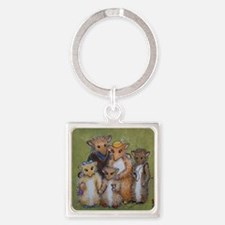 Woodhill Whiskers Mouse Family Square Keychain