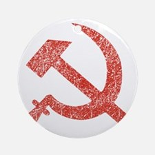 Hammer and Sickle Red Splatter Round Ornament