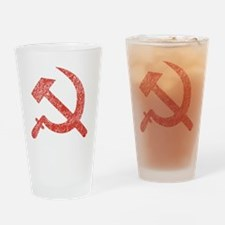 Hammer and Sickle Red Splatter Drinking Glass