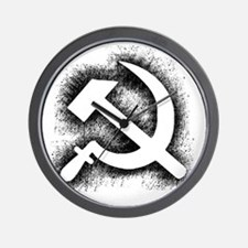 Hammer and Sickle Thick Black Splatter  Wall Clock