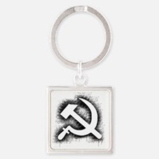 Hammer and Sickle Thick Black Spla Square Keychain