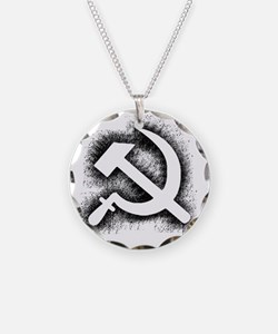Hammer and Sickle Thick Blac Necklace