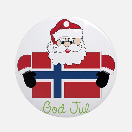 God Jul Round Ornament