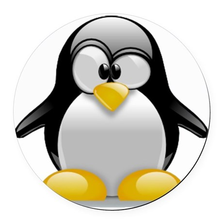 Tux the Penguin Round Car Magnet