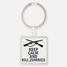 Kill Zombies Square Keychain