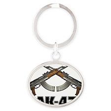 AK47 Pistol Grip Oval Keychain
