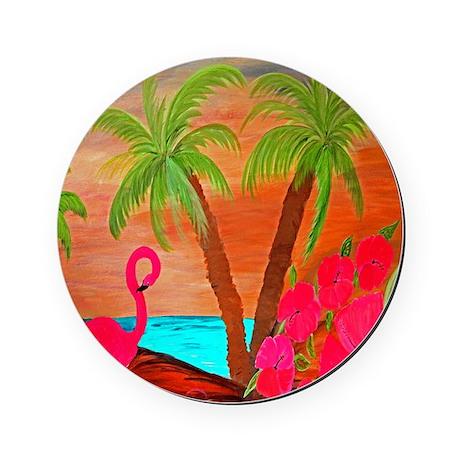 flamingo in paradise Round Coaster