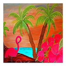 """flamingo in paradise Square Car Magnet 3"""" x 3"""""""