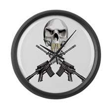 Skull Bullet Teeth Blk Large Wall Clock