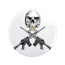 """Skull Bullet Teeth Blk 3.5"""" Button"""