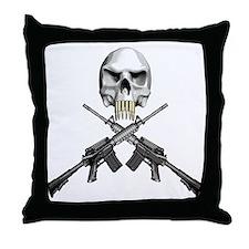 Skull Bullet Teeth Blk Throw Pillow