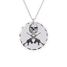Skull Bullet Teeth Blk Necklace
