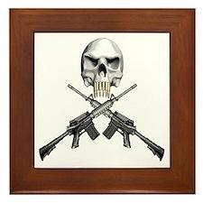 Skull Bullet Teeth Blk Framed Tile