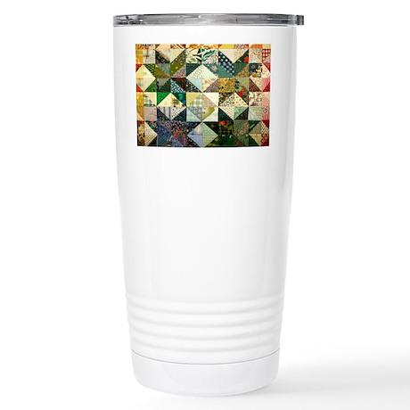 Fun Patchwork Quilt Stainless Steel Travel Mug