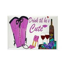 Pink Bustier Drink til hes cute Rectangle Magnet