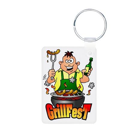 GrillFest Aluminum Photo Keychain