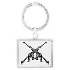 Crossed AR15 Rifles Landscape Keychain