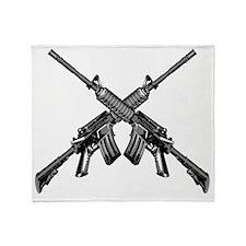 Crossed AR15 Rifles Throw Blanket