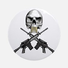 Skull Bullet teeth Round Ornament