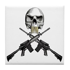Skull Bullet teeth Tile Coaster