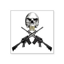 "Skull Bullet teeth Square Sticker 3"" x 3"""