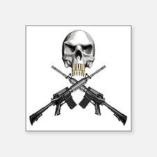 """Skull Bullet teeth Square Sticker 3"""" x 3"""""""