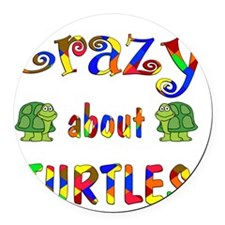 Crazy About Turtles Round Car Magnet