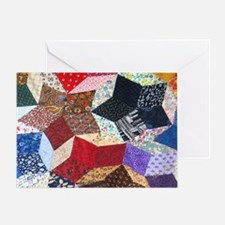 Tumbling Blocks Patchwork Quilt Greeting Card