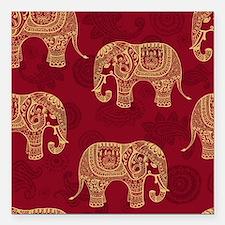 "Beautiful Elephant Patte Square Car Magnet 3"" x 3"""