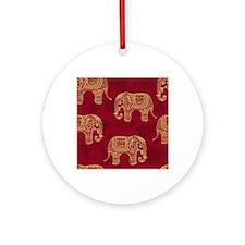 Beautiful Elephant Pattern Round Ornament