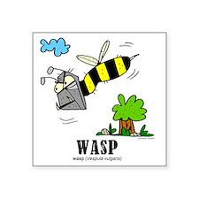 "Cartoon Wasp by Lorenzo Square Sticker 3"" x 3"""
