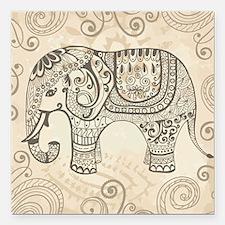 "Vintage Elephant Square Car Magnet 3"" x 3"""