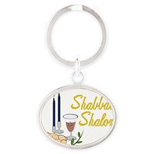 Shabbat Shalom Oval Keychain