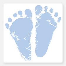 """Blue Precious Feet Square Car Magnet 3"""" x 3"""""""