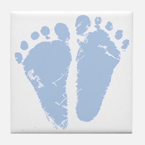 Blue Precious Feet Tile Coaster
