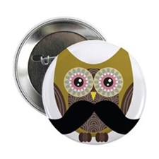 "Golden Owl with Mustache 2.25"" Button"