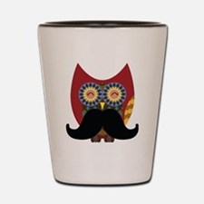 red owl with mustache Shot Glass