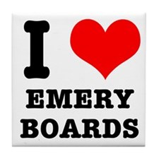 I Heart (Love) Emery Boards Tile Coaster