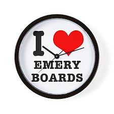 I Heart (Love) Emery Boards Wall Clock