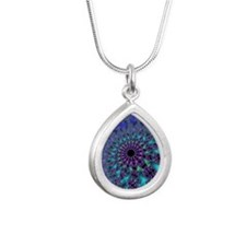 Peacock Fractal Silver Teardrop Necklace