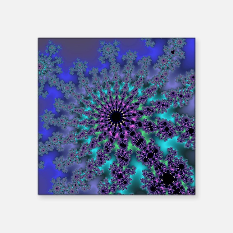"Peacock Fractal Square Sticker 3"" x 3"""
