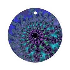 Peacock Fractal Round Ornament