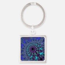 Peacock Fractal Square Keychain