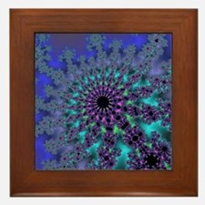 Peacock Fractal Framed Tile
