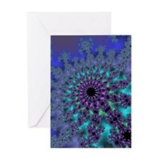 Peacock Fractal Greeting Card