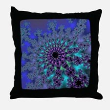 Peacock Fractal Throw Pillow