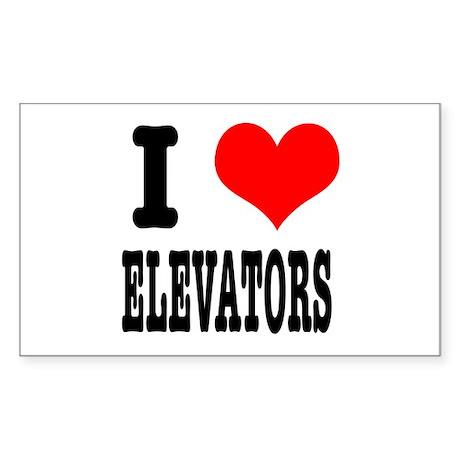 I Heart (Love) Elevators Rectangle Sticker